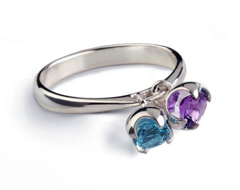 CHARMS Sterling Silver Amethyst Ring, Silver Blue Topaz Ring, Dangle Charm Ring, Birthstone Ring, Mothers Ring, Gemstones Ring