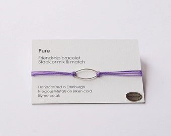 Cord friendship bracelet,silk friendship bracelet, friendship bracelet, cord bracelet, stacking bracelet, purple bracelet