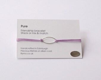 Cord friendship bracelet,silk friendship bracelet, friendship bracelet, cord bracelet, stacking bracelet, light purple bracelet