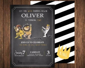 Where The Wild Things Are Birthday Invitation, digital file, printable, Version 2