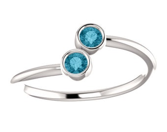 25% OFF London Blue Topaz, Stacking Ring, Dual Stone, 14K White or Yellow Gold