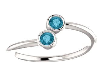 London Blue Topaz, Stacking Ring, Dual Stone, 14K White or Yellow Gold