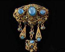 Vintage Czech Blue Jelly Belly Glass Rhinestone Pin Brooch