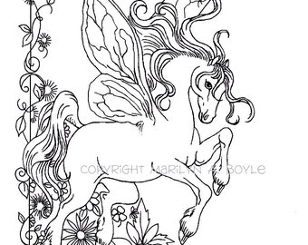 ADULT COLORING PAGE; fantasy, fairy horse, flowers, garden, nature, digital download,