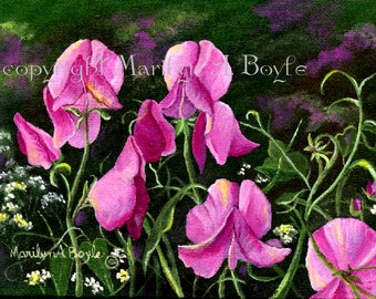 ORIGINAL ACRYLIC PAINTING: miniature; sweet peas, 5 x 7 inches, dark green show frame, wall art, flowers, garden, Canadian art