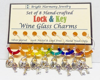 Lock and Key Wine Charm Set Beaded Wine Charms, Silver Lock and Key Charms, Unique Gift Idea BFF Gift, Wine Glass Marker Dinner Party Favors