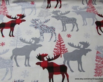 Christmas Flannel Fabric - Moose Check - 1 yard - 100% Cotton Flannel