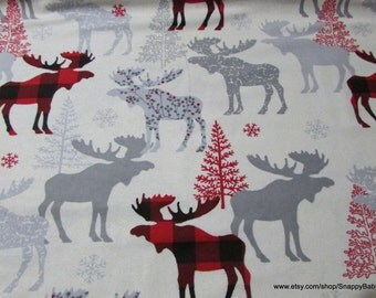 Christmas Flannel Fabric - Moose Check - By the yard - 100% Cotton Flannel