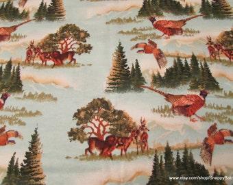 Flannel Fabric - Deer Scenery - 1 yard - 100% Cotton Flannel