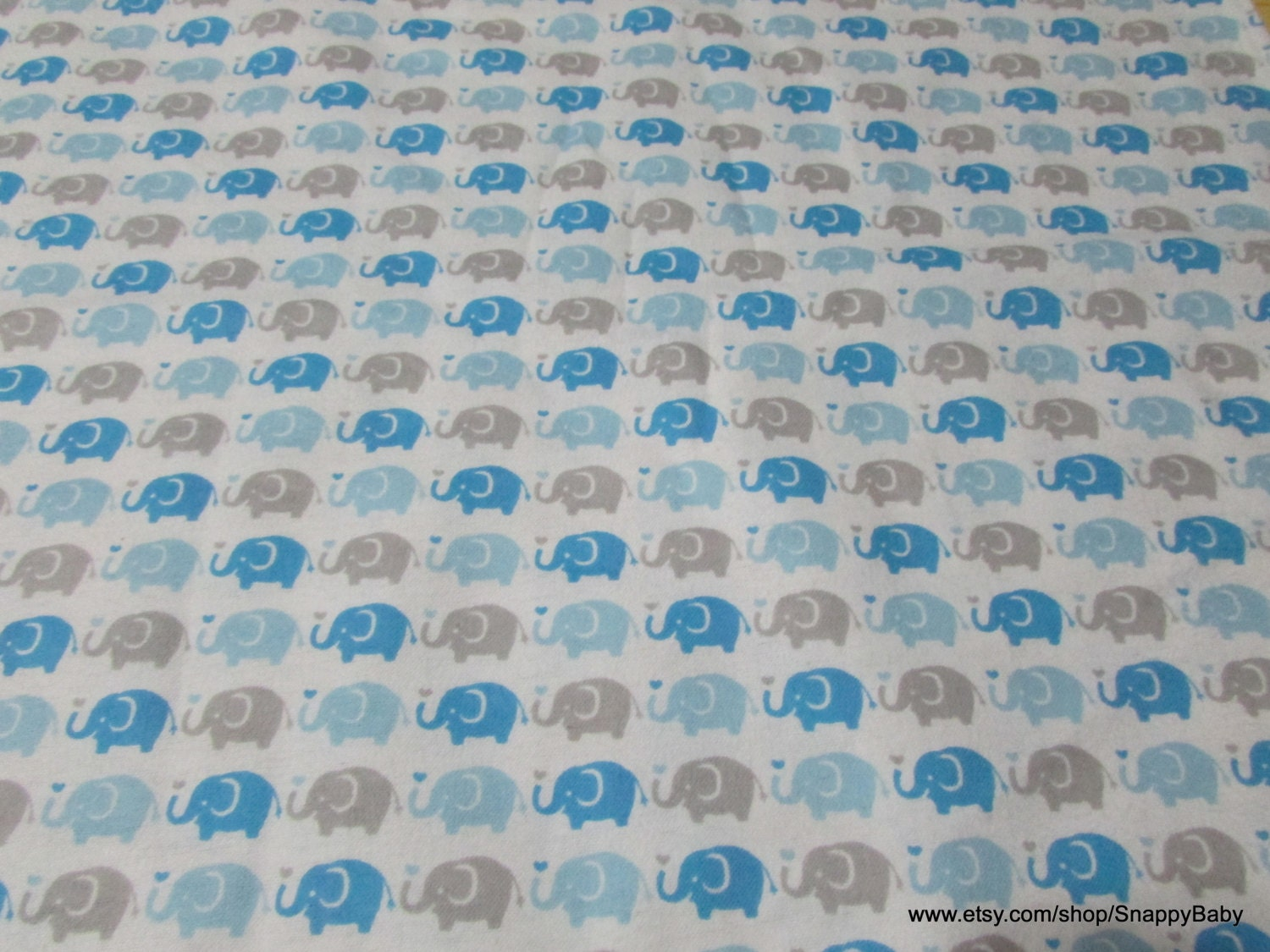 Flannel fabric elephant parade blue 1 yard 100 for Flannel fabric