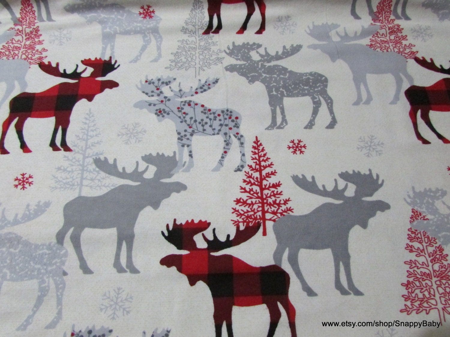 Christmas flannel fabric moose check by the yard 100 for Children s flannel fabric by the yard