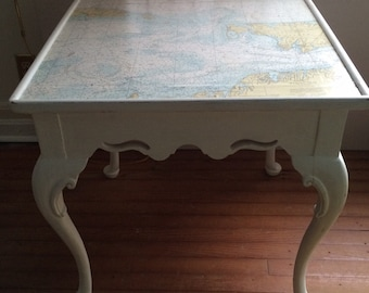 Nantucket Martha's Vineyard Nautical Chart End Table