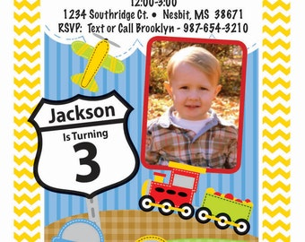 Planes, Trains & Automobiles Birthday Invitation With Picture