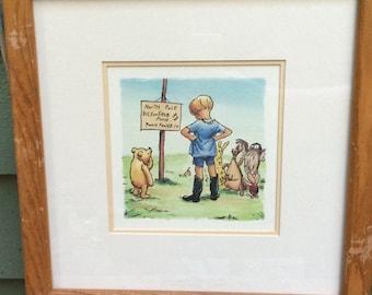 Winnie the Pooh framed art,Christopher Robin, Pooh nursery,Pooh print,Winnie the Pooh nursery,vintage nursery, classic Pooh,toddler boy room