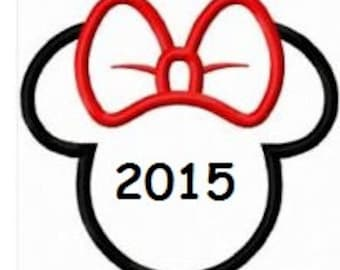 minnie mouse head outline disney iron on tshirt t shirt you choose the size.  Can be personalized