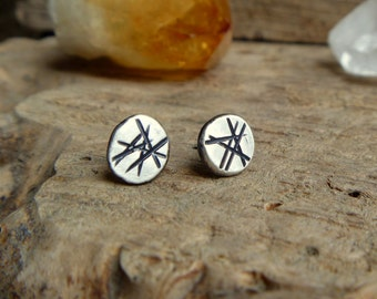 Handstamped sterling silver stud earrings - made to order