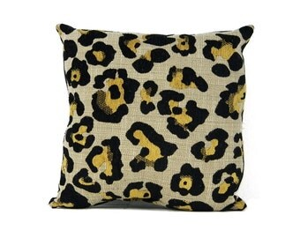 Decorative Leopard Print Black Vegan Leather Pillow