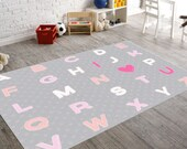 Alphabet Nursery Art, Rugs for Nursery, Kids Rugs, Kids Room Decor, Playroom Rug, Playroom Decor, Gray Rug, Gray Nursery Decor, Heart Decor