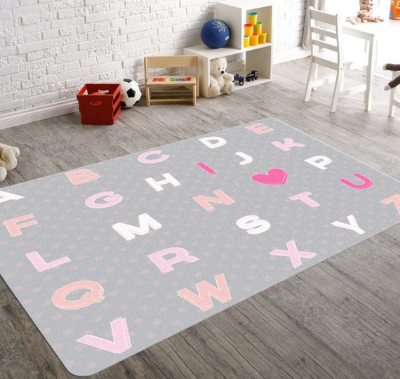 Alphabet nursery art rugs for nursery kids rugs kids room for Alphabet mural nursery
