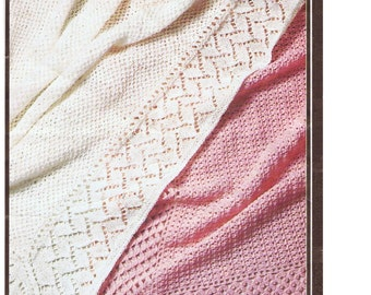 Baby Knitting or Crochet Pattern, 2 baby Shawls in 3 ply yarn approx 102 cm square.