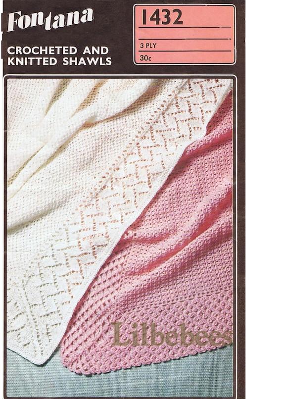 Baby Knitting or Crochet Pattern 2 baby Shawls in 3 ply yarn