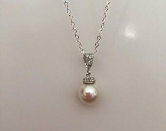 Pearl Necklace, Wedding Pearl Necklace, Wedding Jewelry, Bridal Pearl Necklace, Single Pearl, Swarovski, Bridesmaid Gift