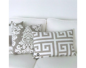 Pillowcase ZEUS Greek key pattern white sand ecru 40 x 60 cm