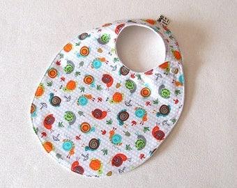 Cute Snails TODDLER Bib , Baby Girl Bib, Baby Shower Gift, Trendy Bib, Snail Bib, Absorbent Bib, baby shower gift