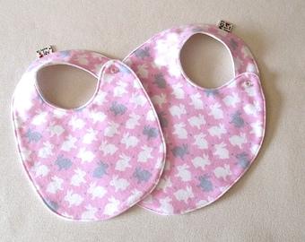 Bunny Baby Bib , Baby Girl Bib, Pink  and White Baby Shower Gift, Trendy Bib, Pink Bib, Absorbent Bib, baby shower gift