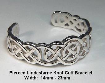 Celtic Pierced Lindesfarne Knot Cuff Bracelet - Sterling Silver