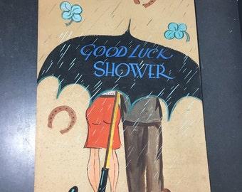 "Wedding Shower Sign Hand Painted Vintage ""Good luck"" art work. 1950s mid century antique theme original poster Bridal"