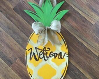 Pineapple Wreath, Welcome Wreath, Summer Wreath, Fall Wreath, Door Hanger, Wreath