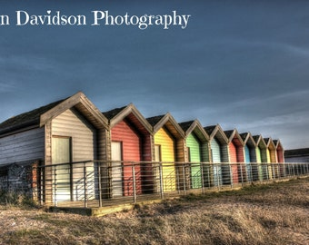 Blyth Beach Huts Northumberland Print 18x12 inch