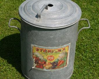 French Galvanised Planter - Vintage Galvanised Bin