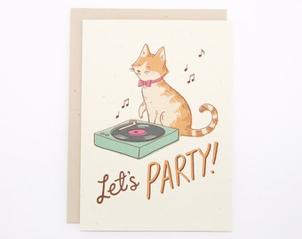 Birthday Card - Cat with Record Player