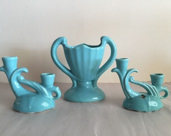 CAMARK/CEMAR Pottery Vase and Candleholders Robins Egg Blue