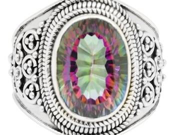 Natural Mystic Quartz Ring Solid 925 Sterling Silver Jewelry Size 9 EBR1304