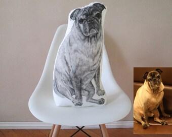 Personalized custom dog pillow lifelike portrait realistic pet throw pillow stuffed plush cushion hand painted drawing