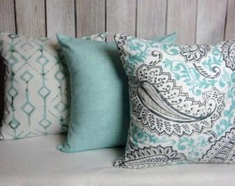 Aqua Blue Pillow. Pillow Cover. Solid Aqua Pillow. Accent Pillow.