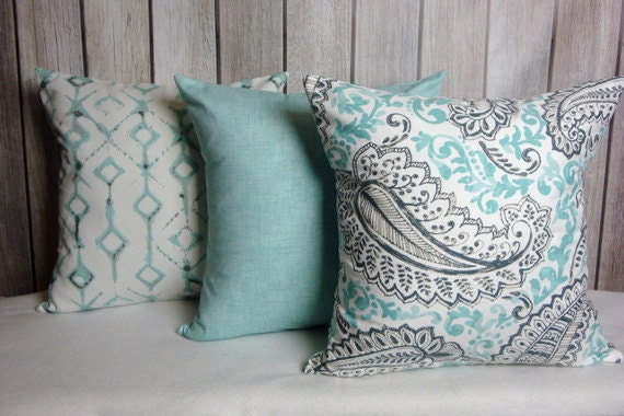 Aqua Blue Pillow. Pillow Cover. Solid Aqua Pillow. Accent Pillow.