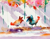 Chicken Art, Rooster Art, Key West Florida, Watercolor Print, Colorful Painting, Tropical Print, Ellen Negley, 5 x 7 or 8 x 10, 11 x 14