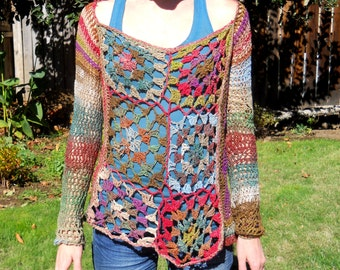 Crochet Granny Square Tunic Pattern : Granny square tunic Etsy UK