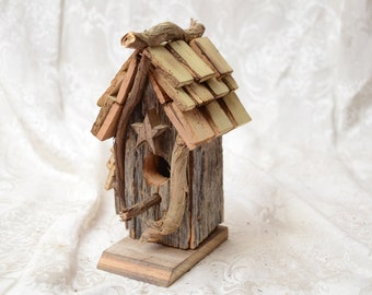 Small Rustic Primitive Bird House made from reclaimed barn lumber