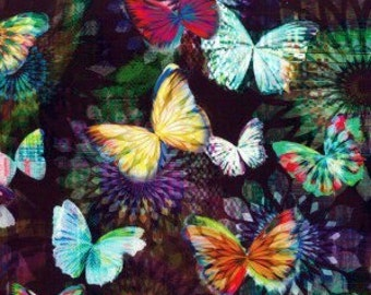 Colorful Butterfly Fabric - Quilting Cotton [[by the half yard]]