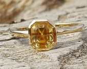 Unique Engagement Ring 1.15ct Natural Yellow Sapphire Unheated 14k Yellow Gold Bezel Set Modern Handmade OOAK