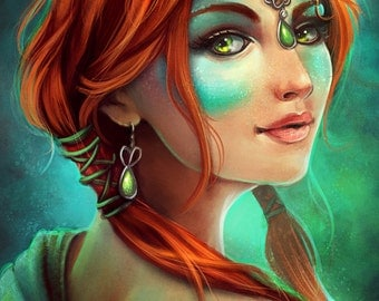 Redhead Woman With Jewelry Fantasy Portrait | Beautiful 11x14 or 4x6 Digital Painting Art Print with Glossy Finish By Rebecca Frank