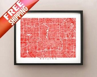 Beijing Map Print - China Poster Art