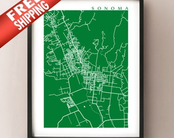 Sonoma Map Print - California Poster