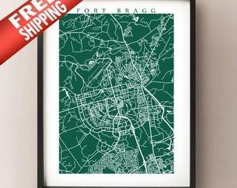 Fort Bragg map art print - North Carolina Poster