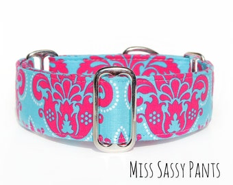 """Wide 2 Inch Pink and Blue Martingale Dog Collar in Size 13 - 17"""" - Pre-made - Ready to Ship"""